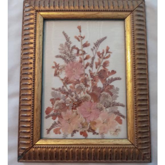 Vintage Pressed Dried Fresh Flower Art Gold Frame Doris Allen Cottage core Boho